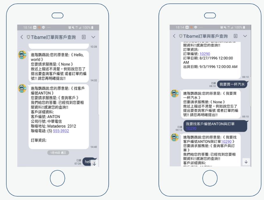 圖四-透過Line採用自然語意查詢客戶與訂單