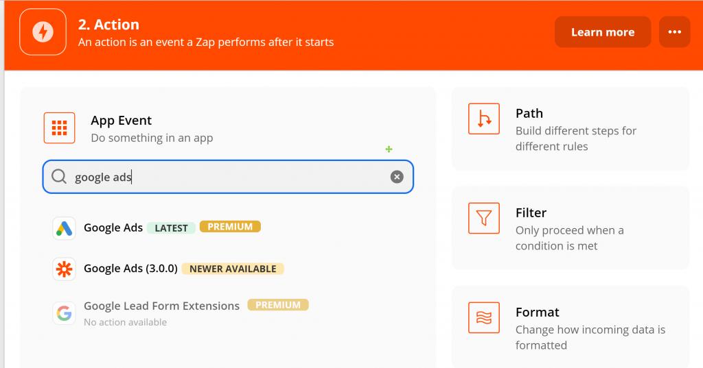 用Zapier設定:Google-Analytics被設定的條件被觸發後的App事件類別